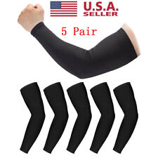 5 Pairs Black Cooling Arm Sleeves Cover Uv Sun Protection Basketball Golf Sport