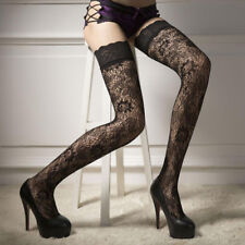 SEXY WOMEN FLORAL LACE OVER KNEE THIGH HIGH STOCKINGS STRETCHY SOCKS BLACK _GG