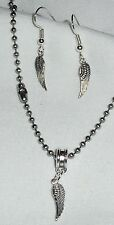 Dainty Angel Wings Charm Earrings and Necklace Set Handcrafted in the USA