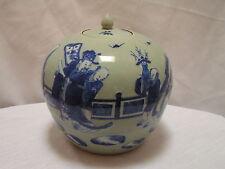 Antique 19th c. Chinese Celadon Ginger Jar w Dignitary & Servants Garden Scene