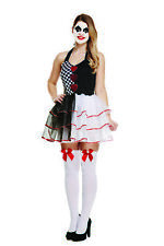 ADULT JESTER EVIL COSTUME WOMENS HORROR HALLOWEEN FANCY DRESS OUTFIT