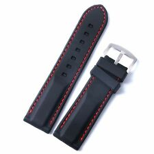22 24mm Black Silicone Watch Band Wrist Rubber Men Strap Sport Diver Waterproof