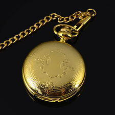 Nickel free Mens Gold Plated Manual Winding Skeleton Mechanical Pocket Watch