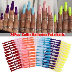 24Pcs/Sheet Full Cover Artificial False Nail Tips Extension Candy Colors