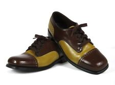 Vintage Two Tone MANLY Brown Rockabilly Spectator Oxfords Saddle Shoes Size 8D