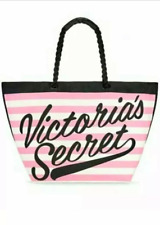 VICTORIA'S SECRET PINK  WHITE STRIPED LARGE TOTE BEACH BAG WEEKENDER ROPE HANDLE