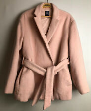 Ladies Pink Wool Coat Belted Jacket Winter Wrap Coat Size L