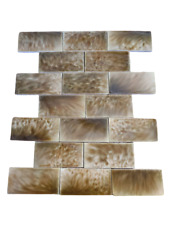 Antique Trent Ceramic Wall Fireplace Tiles 3 x 6 (Lot of 20) 1910s Green-Brown