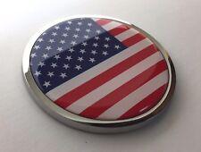 "AMERICAN FLAG 3D Domed Emblem Badge Car Sticker METAL Chrome Bezel ROUND 3 3/8"""