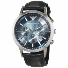 *NEW* EMPORIO ARMANI AR2473 MENS GENUINE RENATO BLUE LEATHER DESIGNER WATCH