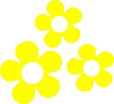 60's Flower Vinyl Decals Stickers for Car or Van (Yellow)