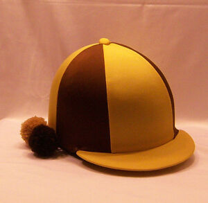 RIDING HAT COVER - GOLD & BROWN