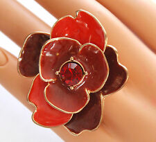 """HUGE 2""""  Red Flower-like Ring / Gold-tone Stretch Band / Red Crystal Center/ NWT"""