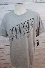 "New Nike Tee Men's Short Sleeve T-Shirt Nwt Athletic Gray Cotton ""Nike"" Sz Small"