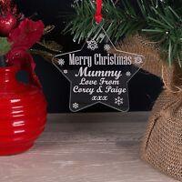 Personalised Mummy, Mum Daddy Acrylic Christmas Tree Star Decoration Bauble Gift