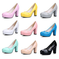 Ladies Womens Patent Leather Block High Heel Pumps Court Shoes UK Size 1--8 F3
