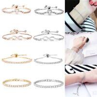Infinity Love Heart Charm Silver Adjustable Gold Crystal Bracelet Women Jewelry