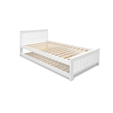 Artiss King Single Timber Trundle Bed Frame - White
