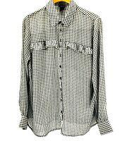 Torrid Women's Plus Black/White Check Long Sleeved Blouse Size 1x Shirt