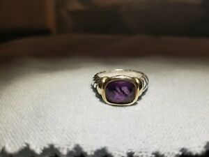 David Yurman Noblesse Amethyst Cable Ring Sterling Silver 14K Gold