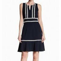 Nanette Nanette Lepore Women Crochet-Trim Sheath Dress | Size 16 | Navy Blue