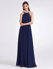 Ever-Pretty UK Halter Ruffled Long Party Dresses Bridesmaid Wedding Dress 07201 Navy Blue 18