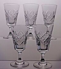 "5 TUDOR CRYSTAL CUT GLASS WALSINGHAM SHERRY PORT GLASSES - 4"" (10.2 cm) TALL"