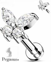 NEW Clear Butterfly flat back Cz Cartilage Helix Tragus Bar Barbell Earring Stud