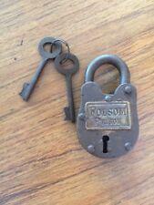 Vintage Style Padlock Key Brass Lock Wild West 1900s Johnny Cash Folsom Prison