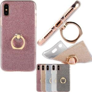 Soft Silicone Bling Glitter Finger Ring Slim Case For OPPO SONY ASUS LG HTC MOTO