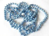 collier sautoir rétro perle qualité nacré bleu de 8 mm nœud de soutient B1