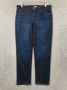 Eileen Fisher Jeans Womens 10 High Rise Slim Fit Dark Wash Denim Blue