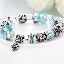 Women 925 Silver Filled European Bracelet Heart Charms Blue Crystal Beads Chain