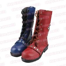 Arkham Knight Harley Quinn Shoes Cosplay Boots Red Blue Rivet Shoes