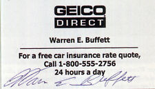 WARREN BUFFETT Signed Business Card GEICO Direct US Business Magnate preprint