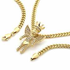 "Men's 14k Gold Plated King Angel Fully Cz Pendant Hip-Hop 30"" Cuban Chain"