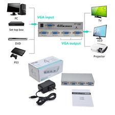 1 PC to 4-Port VGA SVGA LCD CRT Video TV Monitor Splitter Box Adapter Switcher