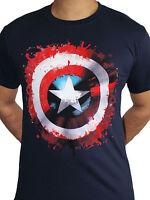 Captain America Shield Logo Splat Official Marvel Avengers Blue Mens T-shirt