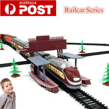 Large Electric Classic Train RAIL Vehicle Kid Toy Set Track Operated Carriage AU