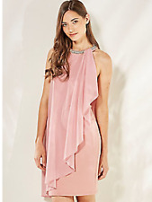 Look Again Sz 10 Pink Waterfall Embellished Neck DRESS Summer Occasion Races £66