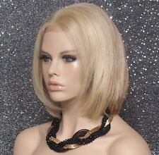 Human hair Blend Full Lace Front Wig Straight Heat Safe Blonde mix MC 613/27