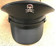 SDL Leatheret Black Military Hat With Metal Skull & Bone Badge In 57,58,59cm