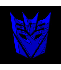TRANSFORMERS DECEPTICON Chrom Blau 2x Aufkleber Sticker Emblem 110x100mm