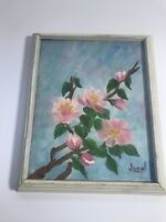 """FLORAL Framed 8X10"""" Hand Painted Flowers Signed """"Janet"""" Home Decor Cottage Chic"""
