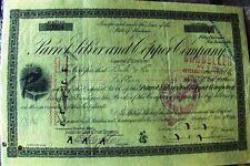 Stock certificate Parrot Silver & Copper Company, Inc. 1900's revenue stamps