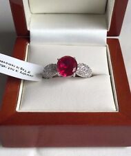 Stunning Created Ruby & Diamond Solitaire Ring 5.75 Carats! Size M, Brand New