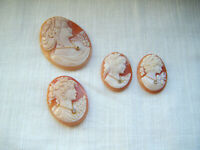 Antique hand carved four loose coral shells signed cameos diamond paste stones
