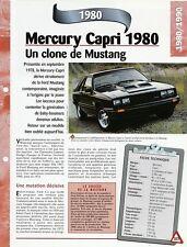 VOITURE MERCURY CAPRI  FICHE AUTO 1980 RENSEIGNEMENT TECHNIQUE