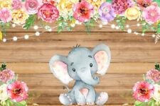 Brown Wooden Board Baby Elephant 7x5ft Photography Backgrounds Vinyl Backdrops