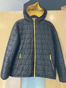 Boys Barbour Black & Yellow Hooded Jacket L Aged 9 Years